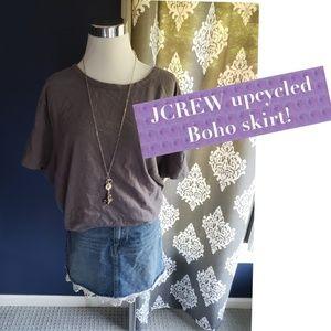 J.Crew upcycled denim skirt